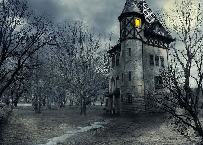 House Greeting Card featuring the photograph Haunted House by Jelena Jovanovic