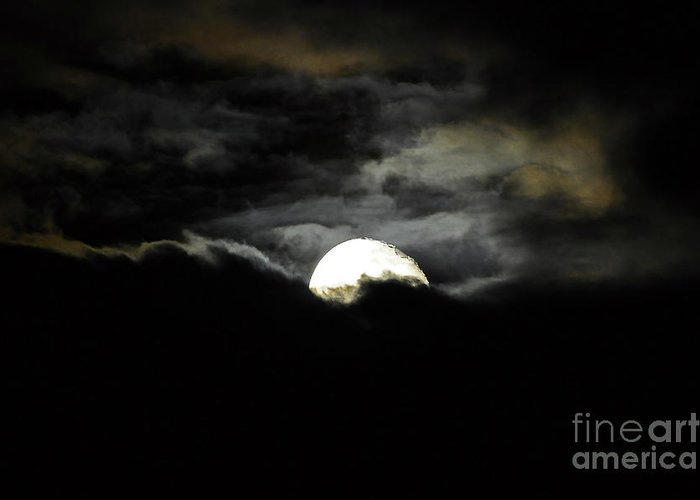 Moon Greeting Card featuring the photograph Haunting Horizon by Al Powell Photography USA