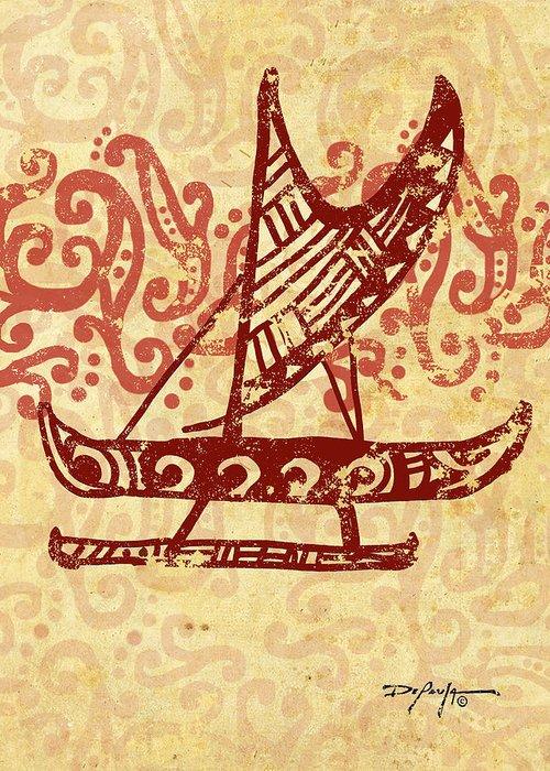 Hawaiian Canoe Greeting Card featuring the mixed media Hawaiian Canoe by William Depaula