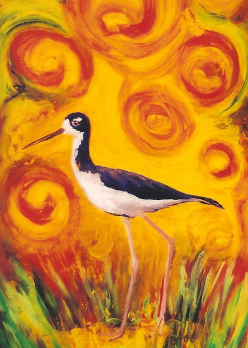 Hawaii Birds Greeting Card featuring the painting Hawaiian Stilt Sunset by Anna Skaradzinska