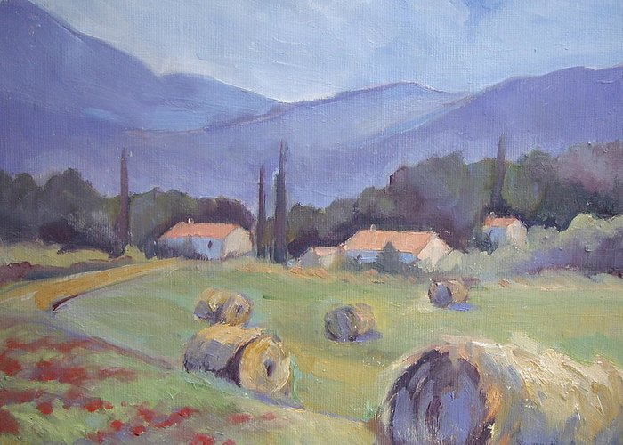 Haybales Greeting Card featuring the painting Haybales And Poppies Of Provence by Linda Wissler