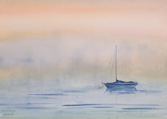 Sailboat Greeting Card featuring the painting Hazy Day Watercolor Painting by Michelle Wiarda