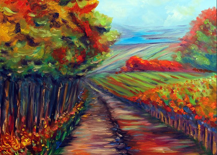 Landscape Greeting Card featuring the painting He Walks With Me by Meaghan Troup