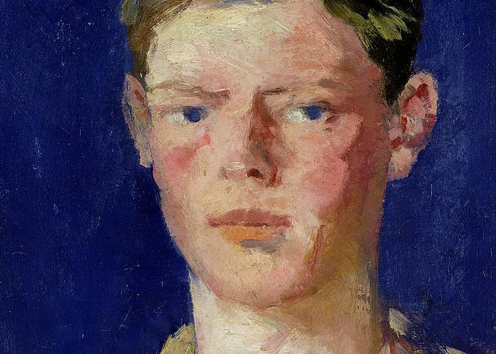 Cadell Greeting Card featuring the painting Head Of A Young Man by Francis Campbell Boileau Cadell