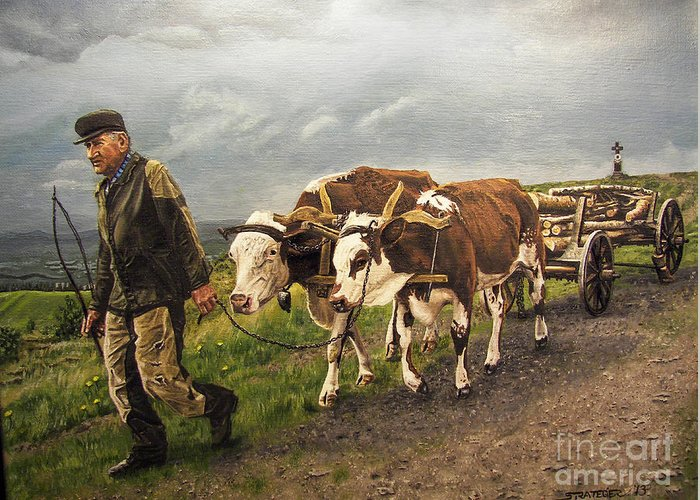 Animals Greeting Card featuring the painting Heading Home by Deborah Strategier