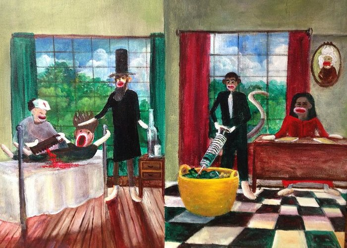 Obama Greeting Card featuring the painting Healthcare Then And Now by Randol Burns