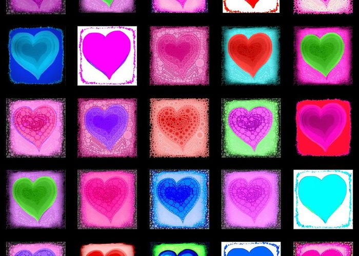 Heart Greeting Card featuring the digital art Heart Collage by Cindy Edwards