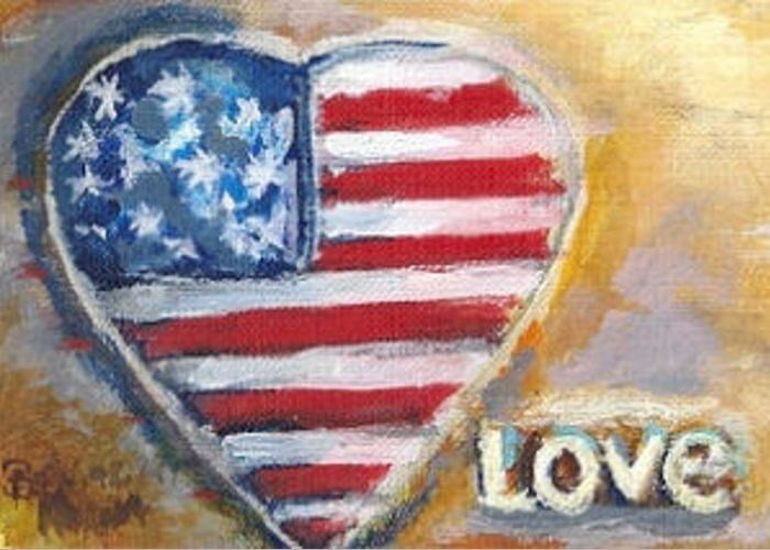 Heart Greeting Card featuring the painting Heart Love Usa by Bernadette Krupa