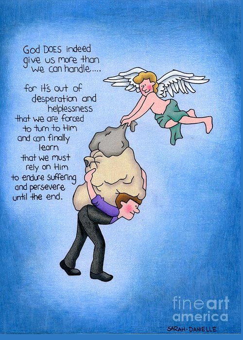 Angels Greeting Card featuring the drawing Heavy Load by Sarah Batalka