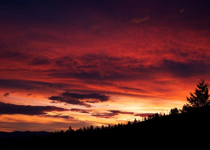 Sunset Greeting Card featuring the photograph Hell Rising by Kevin Bone
