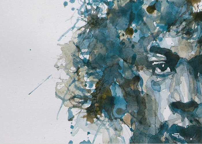 Jimi Hendrix Greeting Card featuring the painting Hendrix Watercolor Abstract by Paul Lovering
