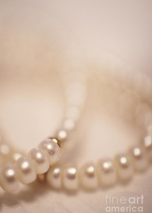 Bead Greeting Card featuring the photograph Her Pearls by Trish Mistric