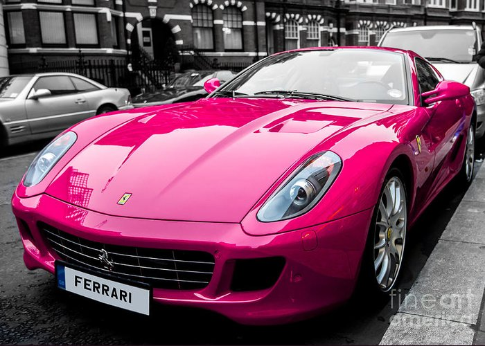 Pink Greeting Card featuring the photograph Her Pink Ferrari by Matt Malloy