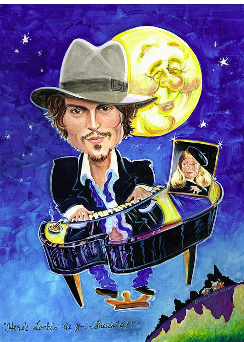 Johnny Depp Greeting Card featuring the painting Here's Lookin' At You... by Karen Fulk