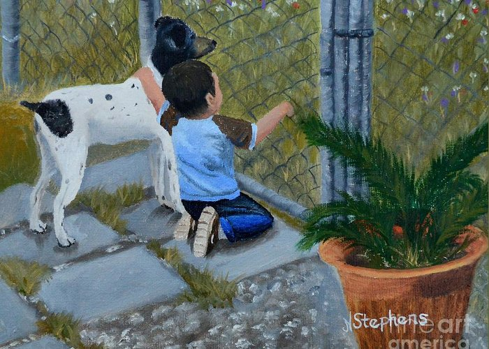 Boy Greeting Card featuring the painting Here's The Plan by Nina Stephens