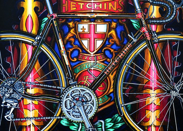 Bicycle Greeting Card featuring the painting Hetchins by Mark Howard Jones