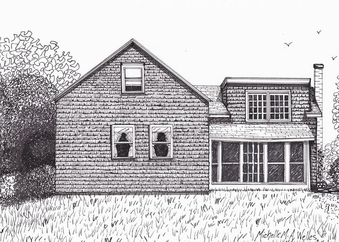 Old Farmhouse Greeting Card featuring the drawing Hettinger Family Farm by Michelle Welles