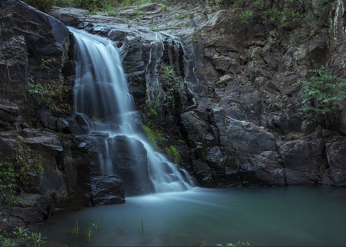 Landscape Greeting Card featuring the photograph Hiawatha Falls by Aaron S Bedell