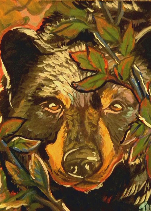 Black Bear Greeting Card featuring the painting Hiding Bear by Jenn Cunningham