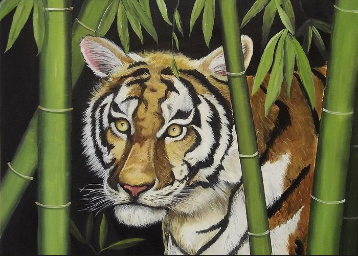 Tiger Greeting Card featuring the painting Hiding In The Bamboo by Wanda Dansereau