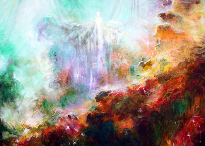 Swan Nebula Greeting Card featuring the painting Higher Self by Heather Calderon