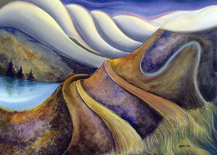 Jen Norton Greeting Card featuring the painting Highway With Fog by Jen Norton