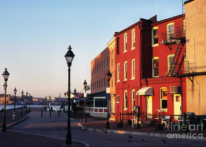 Early Morning Greeting Card featuring the photograph Historic Fells Point by Thomas R Fletcher