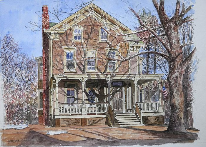 North American Greeting Card featuring the painting Historic Home Westifled New Jersey by Anthony Butera
