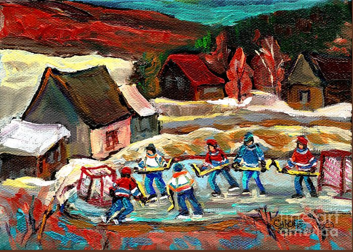 Pond Hockey Greeting Card featuring the painting Hockey Rinks In The Country by Carole Spandau