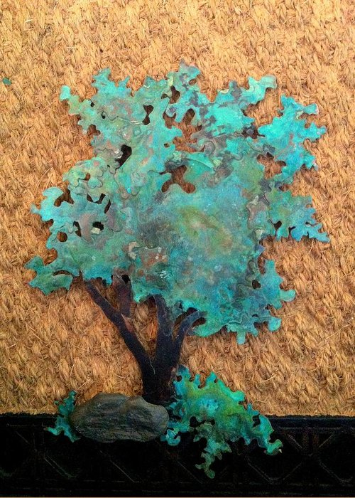 Copper Greeting Card featuring the sculpture Hokkidachi Copper Bonsai by Vanessa Williams