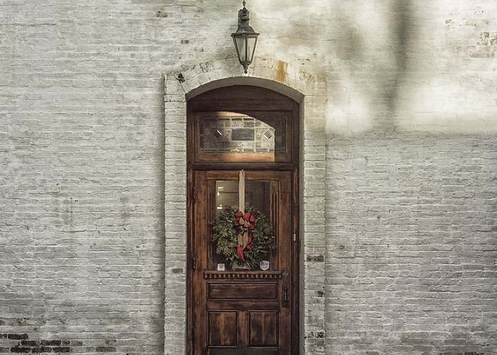 Holiday Greeting Card featuring the photograph Holiday Door by Terry Rowe
