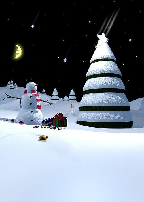 Christmas Greeting Card featuring the digital art Holiday Falling Star by Cynthia Decker