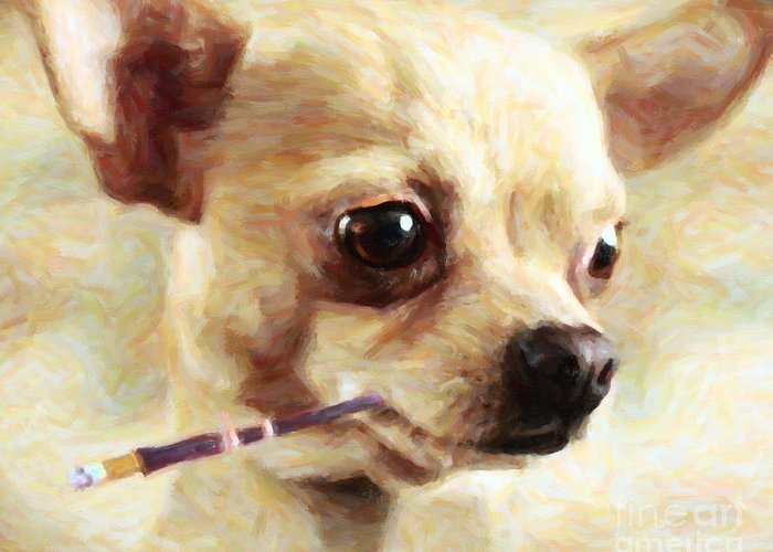 Animal Greeting Card featuring the photograph Hollywood Fifi Chika Chihuahua - Painterly by Wingsdomain Art and Photography