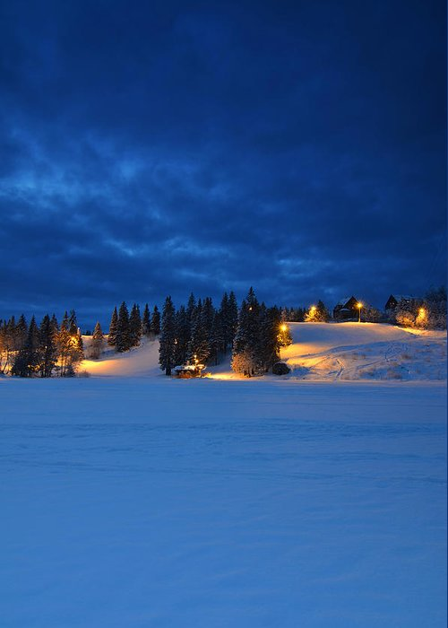 Norway Greeting Card featuring the photograph Holmenkollen Blue by Aaron S Bedell