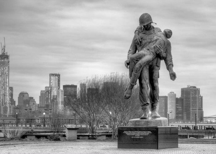 Liberation Memorial Greeting Card featuring the photograph Holocaust Memorial by JC Findley