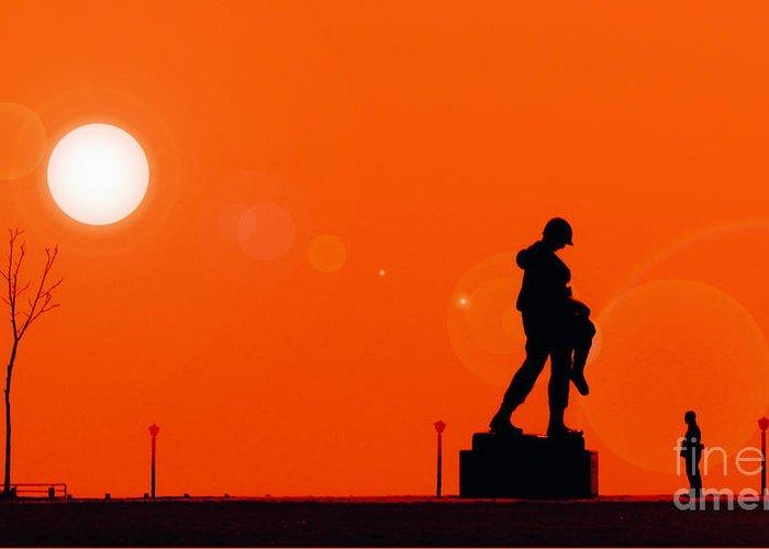 Holocaust Memorial Sunset Greeting Card featuring the photograph Holocaust Memorial - Sunset by Nishanth Gopinathan