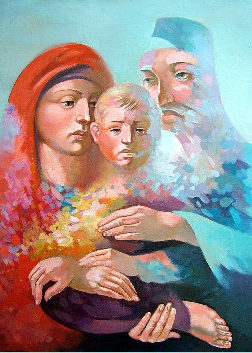 Saint Mary Greeting Card featuring the painting Holy Family by Filip Mihail