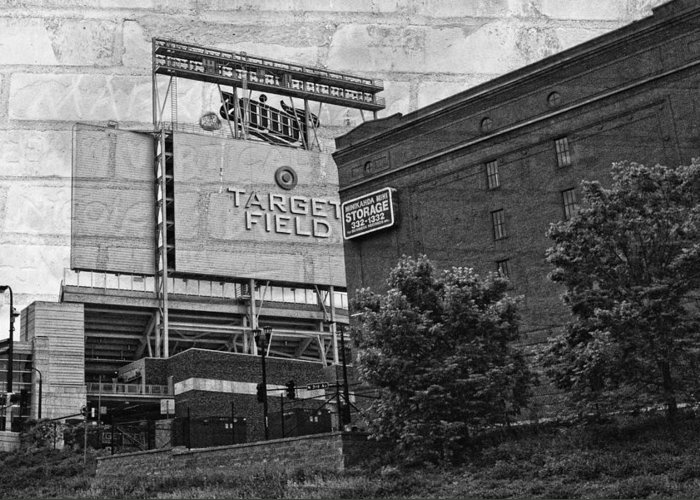 Black And White Greeting Card featuring the photograph Home Of The Minnesota Twins by Susan Stone