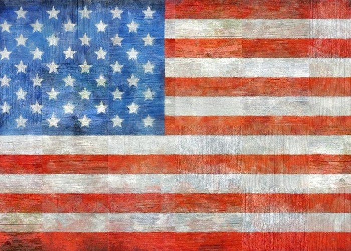 Flag Greeting Card featuring the painting Homeland by Michelle Calkins