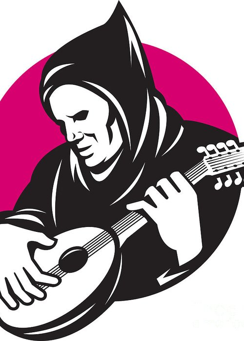 Hood Greeting Card featuring the digital art Hooded Man Playing Banjo Guitar by Aloysius Patrimonio