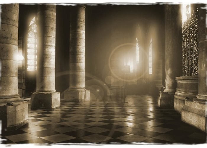 Notre Dame Greeting Card featuring the photograph Hope Shinning Through by Mike McGlothlen