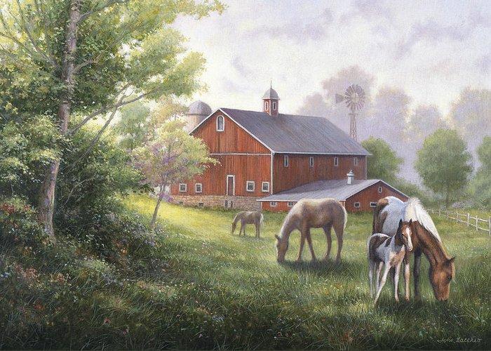 John Zaccheo Greeting Card featuring the painting Horse Barn by John Zaccheo