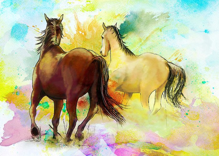 Horse Greeting Card featuring the painting Horse Paintings 009 by Catf