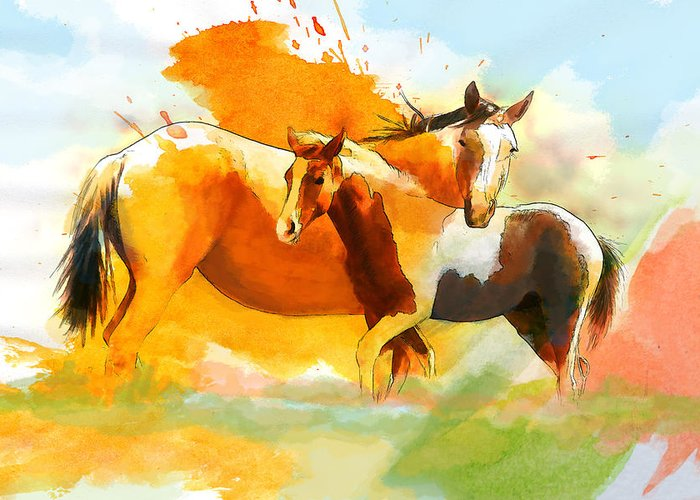 Horse Greeting Card featuring the painting Horse Paintings 013 by Catf
