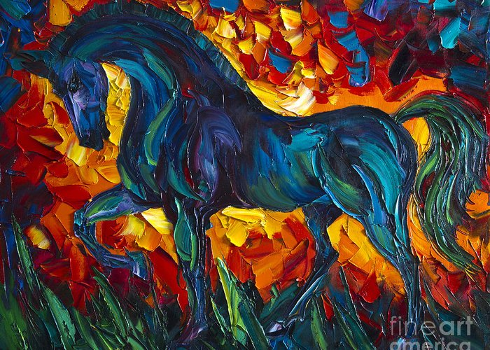Horse Greeting Card featuring the painting Horse by Willson Lau