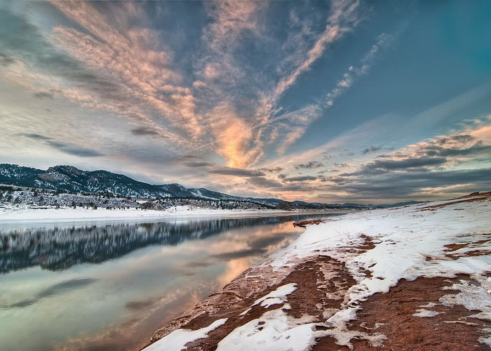 Colorado Greeting Card featuring the photograph Horsetooth Sunset Hdr by Preston Broadfoot