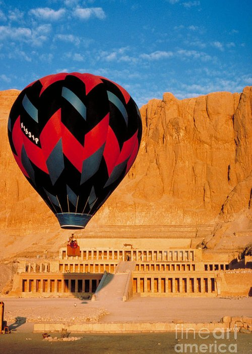 Hot Air Balloon Over Thebes Temple Greeting Card by John G Ross