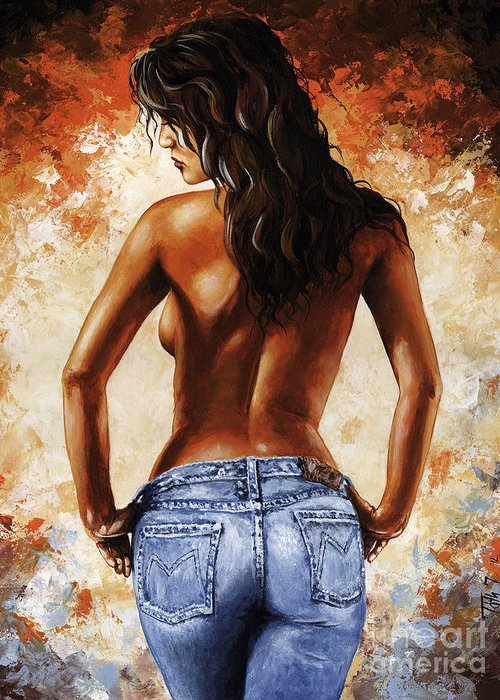 Nude Greeting Card featuring the painting Hot Jeans 02 Blue by Emerico Imre Toth