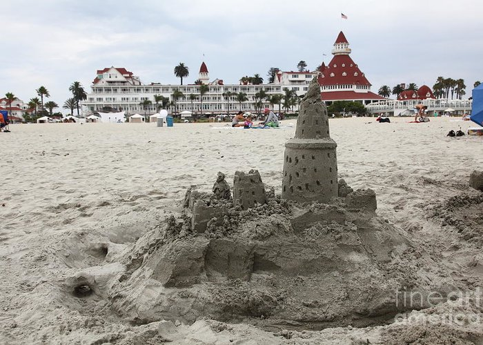 Sandcastle Greeting Card featuring the photograph Hotel Del Coronado In Coronado California 5d24264 by Wingsdomain Art and Photography