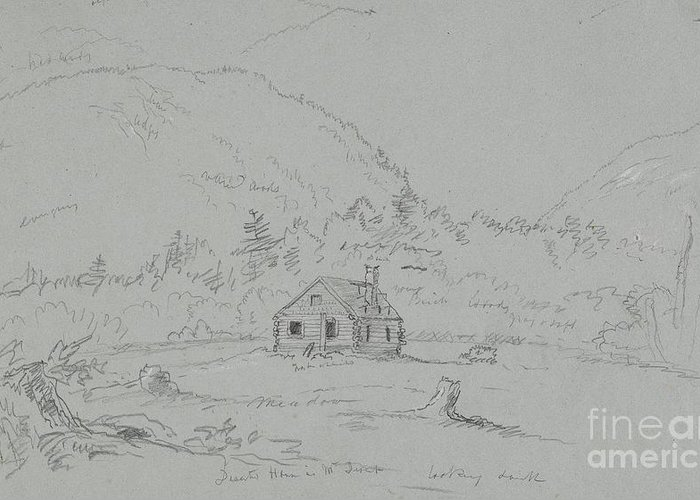 House; Mount; Desert; Mount Desert; Island; Hancock; County; Hancock County; Maine; Remote; Clapperboard; Clapboard; Hut; Shack; Rural; Countryside; Hill; Hills; Mountainous; America; American; Hudson River School; Drawing; Sketch; Study; Us; Usa; Ramshackle Greeting Card featuring the drawing House In Mount Desert by Thomas Cole